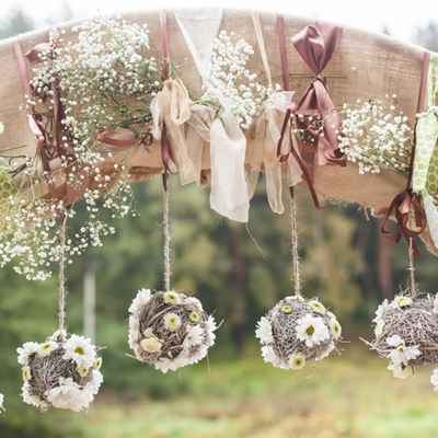 Rustic brown wedding ceremony decor