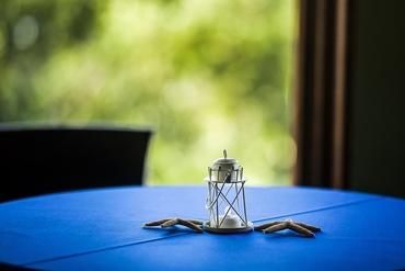 Marine blue wedding reception decor