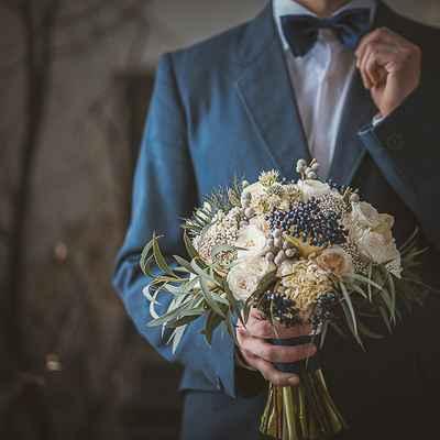 Ivory eustoma wedding bouquet