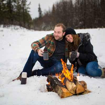 Outdoor winter engagement