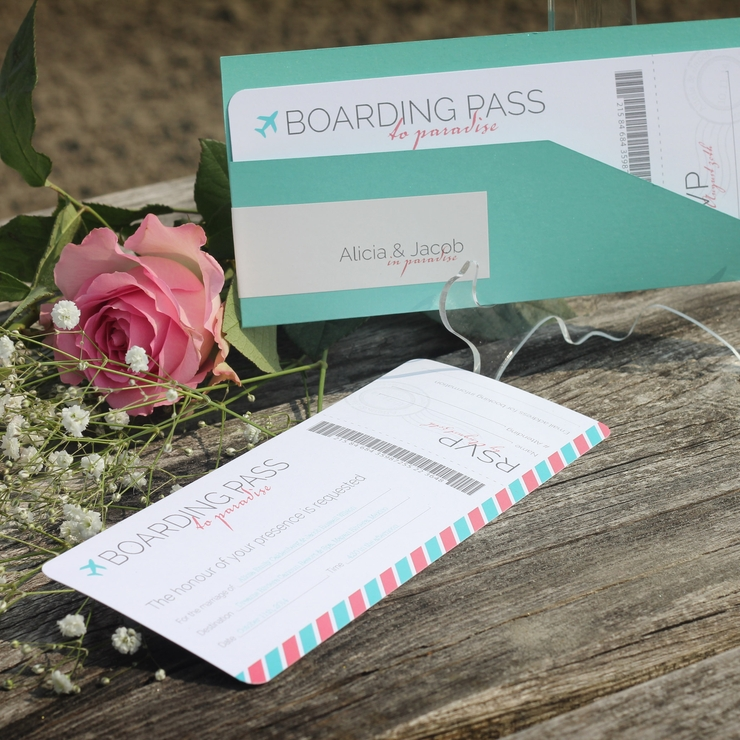 Destination Wedding Boarding Pass Invitation