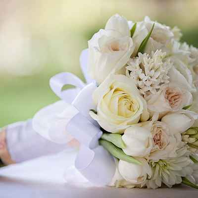 Spring ivory tulip wedding bouquet
