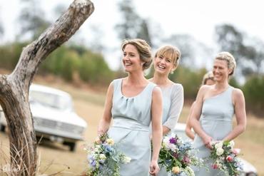 Outdoor grey bridesmaids
