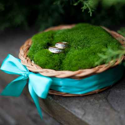 Rustic blue wedding ring pillows