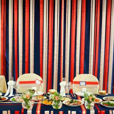 Marine blue wedding reception decor