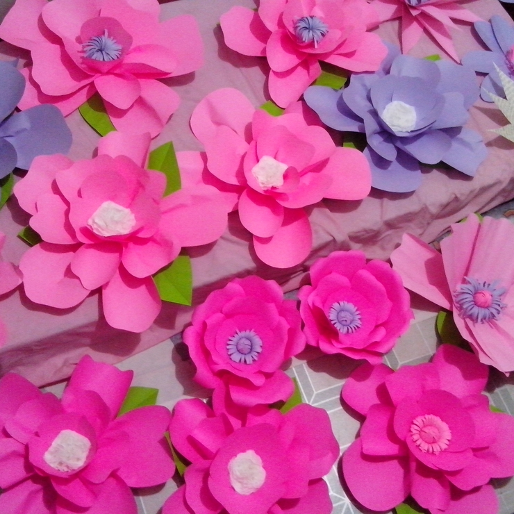 Giant Paper Flowers In Neon