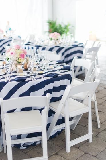 Marine white wedding reception decor