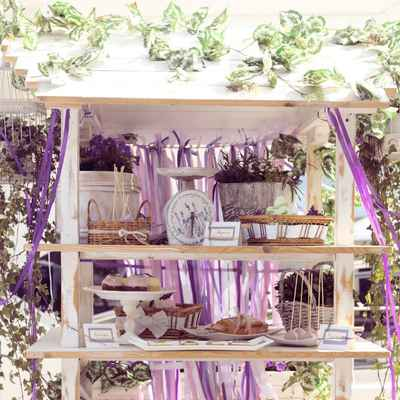 French purple photo session decor
