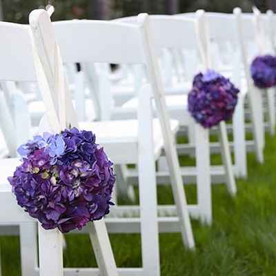Purple wedding ceremony decor