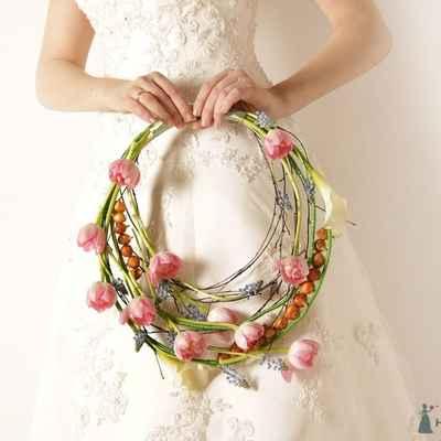 Spring pink tulip wedding bouquet