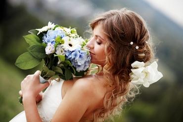 Blue gerbera wedding bouquet