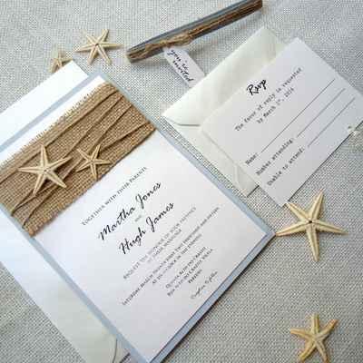 Marine white wedding invitations