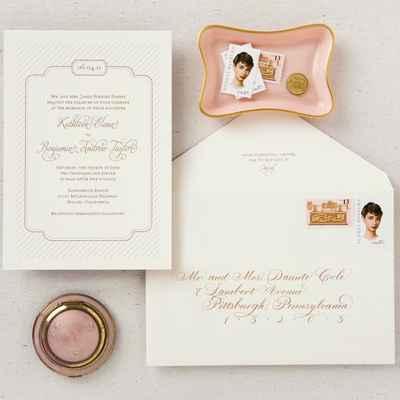 Breakfast at tiffany's pink wedding invitations