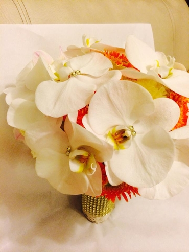 White orchid wedding bouquet