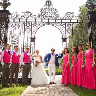 Pink wedding guests