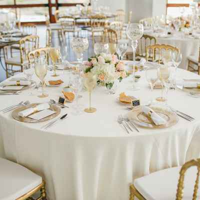 Overseas ivory wedding reception decor