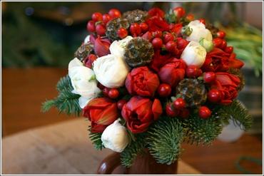 Winter red tulip wedding bouquet