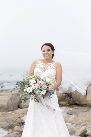 Beach white rose wedding bouquet