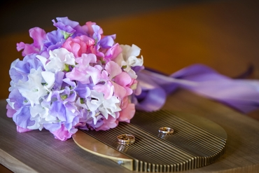 Purple vials wedding bouquet
