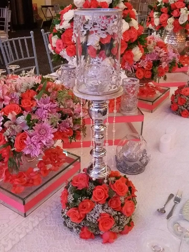 Orange wedding reception decor