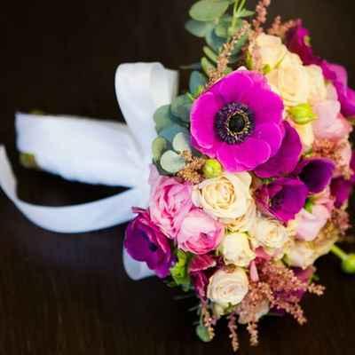 Pink anemone wedding bouquet