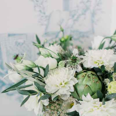 White eustoma wedding bouquet