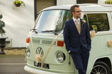 Vintage green wedding transport