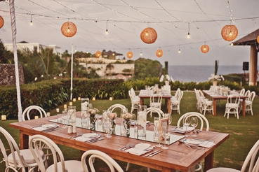 Outdoor summer wedding reception decor