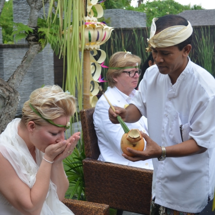 Balinese blessing in a private residence