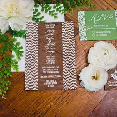 Rustic brown wedding invitations