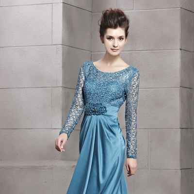 Blue long wedding dresses