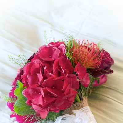 Red hydrangea wedding bouquet