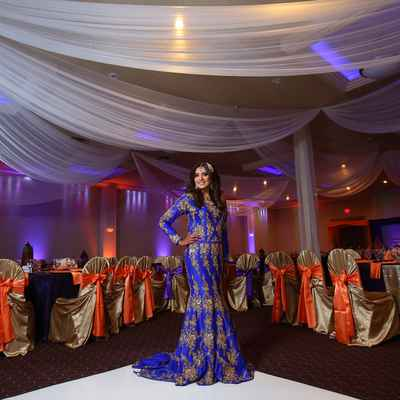 Ethnical blue long wedding dresses