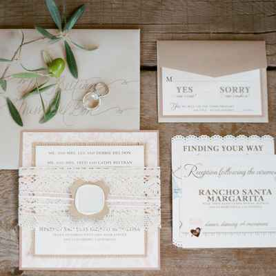 Mediterranean ivory wedding invitations