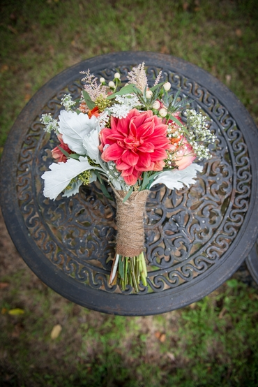 Rustic white gerbera wedding bouquet