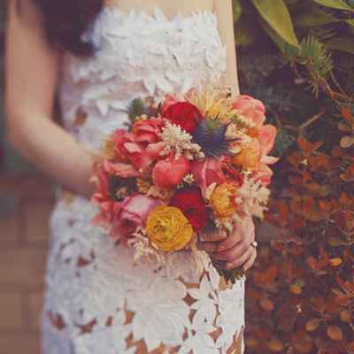 Autumn orange peony wedding bouquet