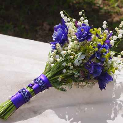 Purple vials wedding bouquet