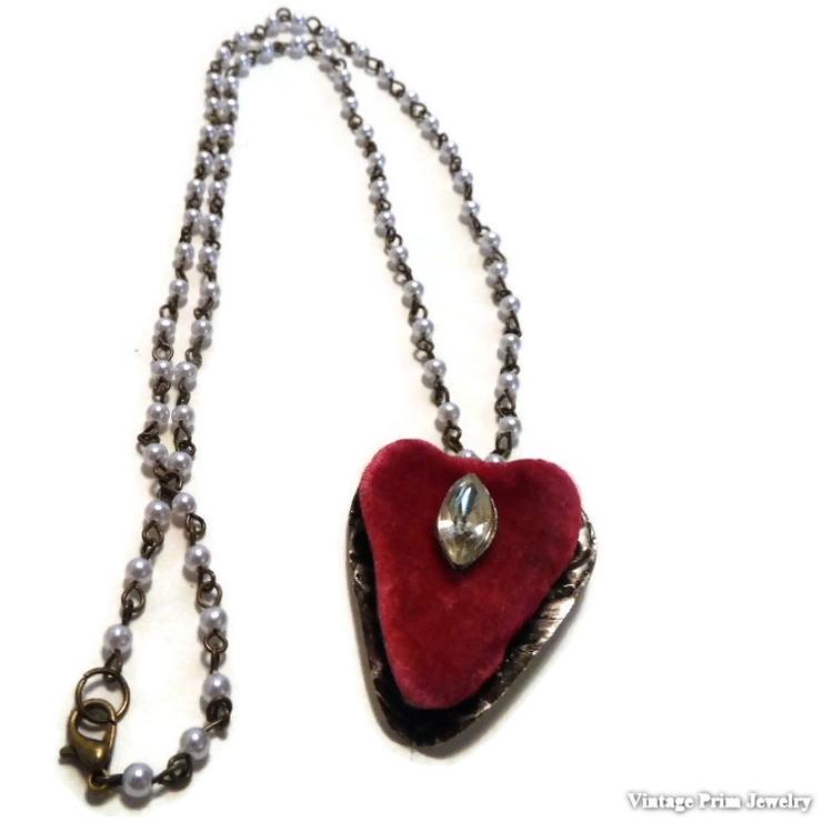 Red Velvet Heart Pendent Necklace
