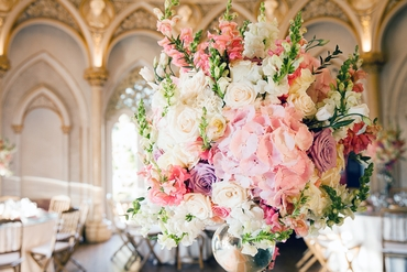 Pink overseas wedding floral decor