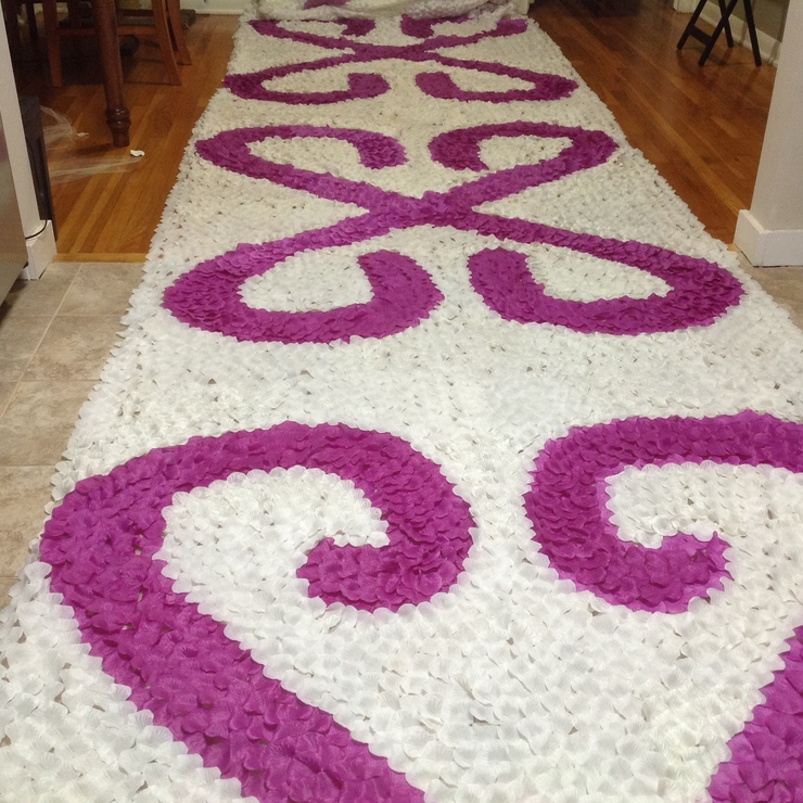 25ft rose petal aisle runner