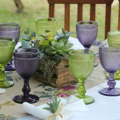 Outdoor green wedding reception decor