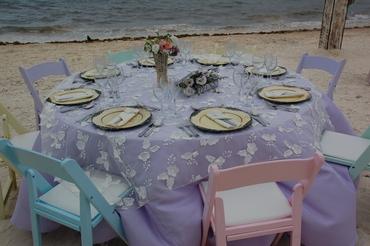 Purple wedding photo session decor