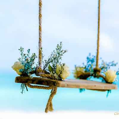 Beach wedding photo session decor