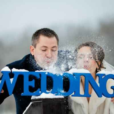 Winter blue wedding signs