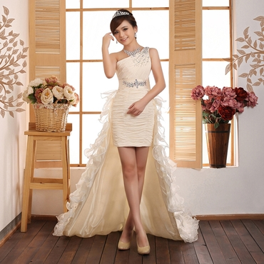 French ivory short wedding dresses