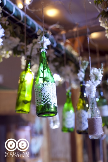 Rustic green wedding reception decor