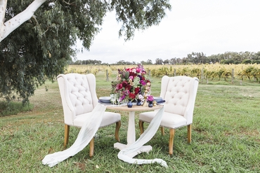 Outdoor white wedding photo session decor