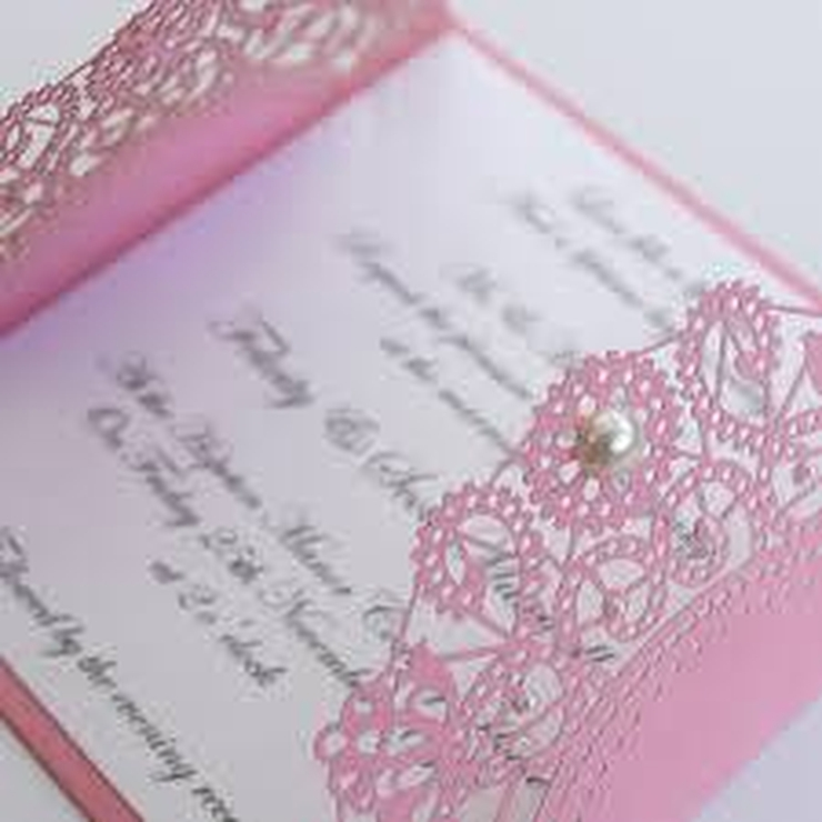 Pink and Red Laser Cut Invitation