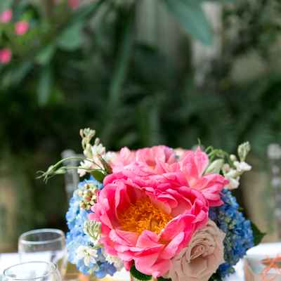 Pink outdoor wedding floral decor