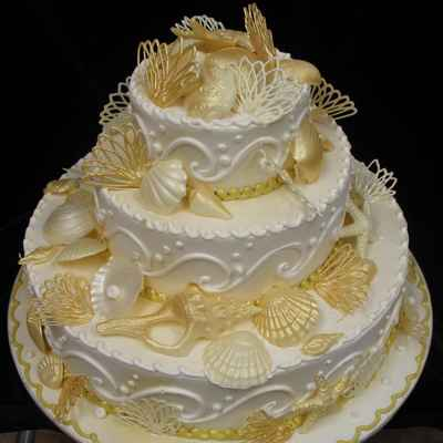 Marine white wedding cakes